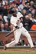 San Francisco Giants shortstop Eduardo Nunez (10) swings at a pitch by New York Mets relief pitcher Addison Reed (43) at AT&T Park in San Francisco, Calif., on August 21, 2016. (Stan Olszewski/Special to S.F. Examiner)