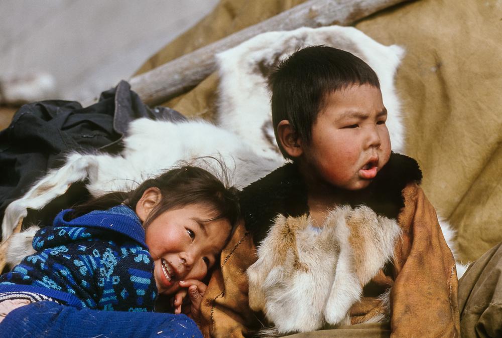 Chukchi children, Chukchi reindeer camp Bering Sea coastline, Chukotsk Peninsula, NE Russia, 1992