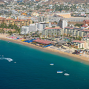 Aerial view of the hotel zone in Medano beach.  Cabo San Lucas.