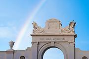 A rainbow behind the War Memorial in Waikiki.