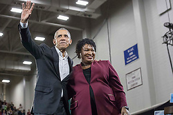 Former President Barack Obama and Georgia gubernatorial candidate Stacey Abrams following a rally in Forbes Arena at Morehouse College in Macon, GA, USA, on Friday, Nov. 2, 2018. Photo by Alyssa Pointer/Atlanta Journal-Constitution/TNS/ABACAPRESS.COM
