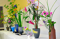 """""""Ikebana"""" created by participants contributing their flower-arranging art to the 2012 Obon Festival at the Buddhist Temple of Salinas."""