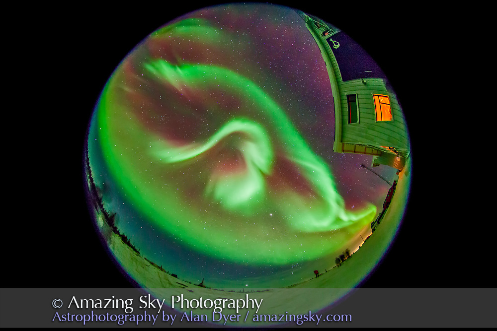 The aurora of February 3-4, 2014 seen from Churchill, Manitoba at the Churchill Northern Studies Centre, in an all-sky view with the 8mm fish-eye lens. This is a 20-second exposure at f/3.5 and ISO 3200 wth the Canon 5D MkII.