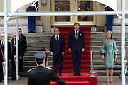 """François Hollande brengt een officieel bezoek aan Nederland. Hollande is in Nederland om de handelsbetrekkingen aan te halen.<br /> <br /> François Hollande brings an official visit to the Netherlands. Hollande is in the Netherlands for """"better""""Trading relations<br /> <br /> Op de foto/ On the photo:  De Franse president François Hollande komt aan op Paleis Noordeinde en wordt ontvangen door Koning Willem-Alexander en koningin Maxima <br /> <br /> French President Francois Hollande arrives at Noordeinde Palace and is received by King Willem-Alexander and Queen Maxima"""