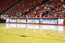 15 March 2012:  Scorers table shows the Women's National Invitational Tournament display during a first round WNIT basketball game between the Central Michigan Chippewas and the Illinois Sate Redbirds at Redbird Arena in Normal IL