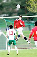 Fotball , <br /> Landslag gutt 19 G19 , <br /> 29.04.08 , <br /> Lisleby stadion , <br /> 2 EM kvalifiseringsrunde , <br /> Håvard Nordtveit , <br /> Ismail Isa Mustafa , <br /> Foto: Thomas Andersen / Digitalsport