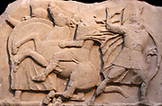 Detail from the a frieze in the Nereid Monument. Lykian tomb, found in Xanthus, Turkey. Built around 390-380 BC