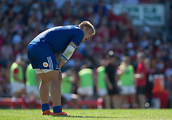 June 16, 2018 - Ottawa, ON, U.S. - OTTAWA, ON - JUNE 16: Kirill Golosnitskiy (13 Centre) of Russia catches his breath against Canada in the Canada versus Russia international Rugby Union action on June 16, 2018, at Twin Elms Rugby Park in Ottawa, Canada. Russia won the game 43-20. (Photo by Sean Burges/Icon Sportswire) (Credit Image: © Sean Burges/Icon SMI via ZUMA Press)