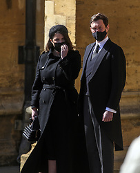 Princess Beatrice and Edoardo Mapelli Mozzi stand at the Galilee Porch of St George's Chapel, Windsor Castle, Berkshire, during the funeral of the Duke of Edinburgh. Picture date: Saturday April 17, 2021.