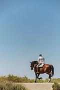 Senior man riding on horseback against clear sky, Cadiz, Andalusia, Spain