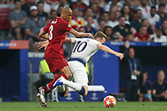 Liverpool midfielder Fabinho (3) fouls Tottenham Hotspur forward Harry Kane (10) during the UEFA Champions League Final match between Tottenham Hotspur and Liverpool at Wanda Metropolitano Stadium, Madrid, Spain on 1 June 2019.
