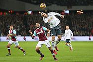 Zlatan Ibrahimovic of Manchester United gets to a header ahead of Dimitri Payet of West Ham Utd. Premier league match, West Ham Utd v Manchester Utd at the London Stadium, Queen Elizabeth Olympic Park in London on Monday 2nd January 2017.<br /> pic by John Patrick Fletcher, Andrew Orchard sports photography.