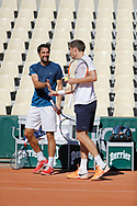 Jeremy Chardy (FRA) and Nicolas Mahut (FRA) at practice on tennis court 2 during the Roland Garros French Tennis Open 2017, preview, on May ......, 2017, at the Roland Garros Stadium in Paris, France - Photo Stephane Allaman / ProSportsImages / DPPI