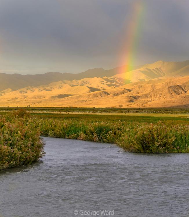 Rainbow over the Stillwater Range and Marsh at Sunset, Stillwater National Wildlife Refuge, Nevada