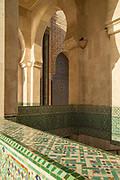 Architectural detail inside Hassan II Mosque in Casablanca, Morocco
