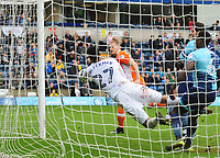 Blackpool's Brad Potts' header is saved on the line by Wycombe Wanderers' Jamal Blackman<br /> <br /> Photographer Kevin Barnes/CameraSport<br /> <br /> The EFL Sky Bet League Two - Wycombe Wanderers v Blackpool - Saturday 11th March 2017 - Adams Park - Wycombe<br /> <br /> World Copyright © 2017 CameraSport. All rights reserved. 43 Linden Ave. Countesthorpe. Leicester. England. LE8 5PG - Tel: +44 (0) 116 277 4147 - admin@camerasport.com - www.camerasport.com