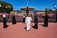 Sultanat d'Oman, gouvernorat de Mascate, Old Mascate (ou Muscat), le palais royal de Mascate ou Qasr al Alam est la résidence de prestige du sultan Qaboos, l'emblème d'Oman // Sultanat of Oman, Muscat, Al Alam Palace of Sultan Qaboos