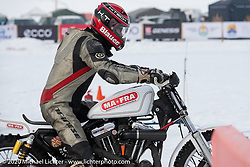 Mikhail Lyubimov on his Harley-Davidson Sportster that he got to 164 kmh (102 mph) on the mile-long ice track in the Baikal Mile Ice Speed Festival. Maksimiha, Siberia, Russia. Thursday, February 27, 2020. Photography ©2020 Michael Lichter.