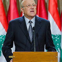 Najib Azmi Mikat prime minister of Lebanon talks during a press conference in Budapest, Hungary on November 06, 2012. ATTILA VOLGYI