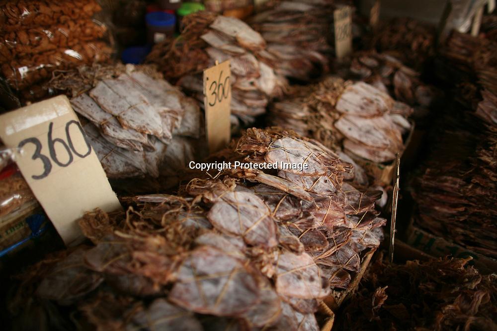 dried squid at a market in Bangkok