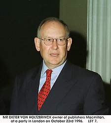 Centre, MR DIETER VON HOLTZBRINCK owner of publishers Macmillan, at a party in London on October 23rd 1996.<br /> LSY 7.