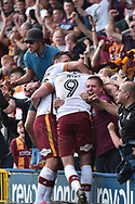 Bradford City forward Charlie Wyke (9)  celebrates 1-1 goal celebration  during the EFL Sky Bet League 1 match between Rochdale and Bradford City at Spotland, Rochdale, England on 21 April 2018. Picture by Mark Pollitt.