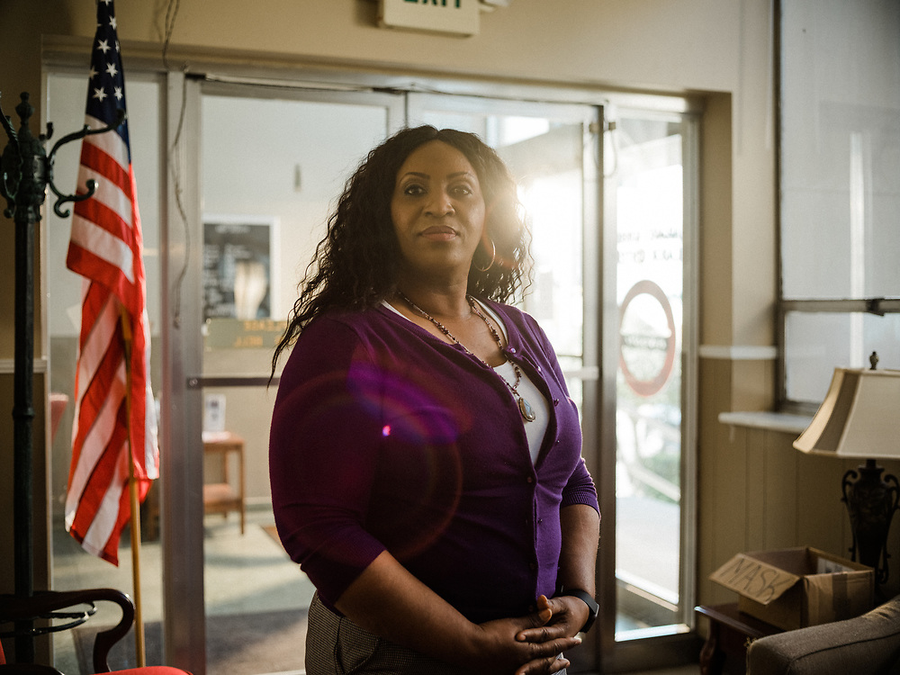 BIRMINGHAM, AL – MARCH 10, 2021: Jennifer Bates, 48, stands at the RWDSU Union Hall in Birmingham's Southside, where she and other Amazon employees are organizing for the Retail Wholesale and Department Store Union. If pro-union organizers like Bates are successful, the BHM1 fulfillment center in Bessemer will become the first unionized Amazon warehouse in the country. CREDIT: Bob Miller for HuffPost