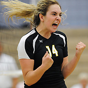 Golden West College #14 Ashleigh Atsaros celebrates after a spike against Irvine Valley College.  Golden West won 3-0 ( 27-25, 26-24, 25-19) 11/4/16