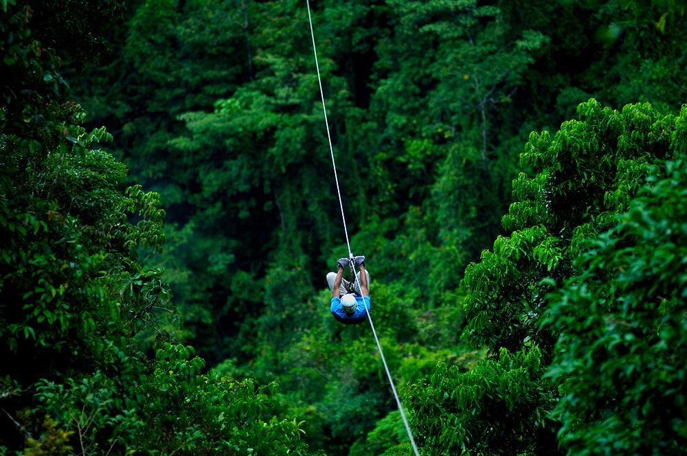 Costa Rica, El Castillo, Tourist Rides The Canopy Zip Line Tour, Rainforest, Arenal