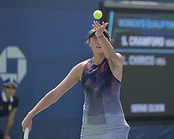August 22, 2017 - New York, New York, United States - Samantha Crawford of USA serves during qualifying game against Louisa Chirico of USA at US Open 2017  (Credit Image: © Lev Radin/Pacific Press via ZUMA Wire)