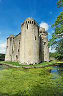 Nunney medieval moated castle, Nunney, Somerset England. Nunney Castle is a medieval castle at Nunney in the English county of Somerset. Built in the late 14th century by Sir John Delamare on the profits of his involvement in the Hundred Years War, the moated castle's architectural style, possibly influenced by the design of French castles, has provoked considerable academic debate. Remodelled during the late 16th century, Nunney Castle was damaged during the English Civil War and is now ruined.<br /> <br /> Visit our MEDIEVAL PHOTO COLLECTIONS for more   photos  to download or buy as prints https://funkystock.photoshelter.com/gallery-collection/Medieval-Middle-Ages-Historic-Places-Arcaeological-Sites-Pictures-Images-of/C0000B5ZA54_WD0s