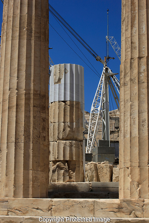 Restoration continues at  the Parthenon in Athens, Greece.<br /><br />Photo by Dennis Brack