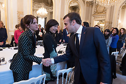 Emma Watson and Emmanuel Macron during the first meeting of the G7 Gender Equality Advisory Council in Paris, France, on February 19, 2019. Photo by Jacques Witt/Pool/ABACAPRESS.COM