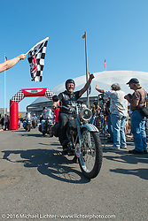 Thomas Trapp riding his 1916 Harley-Davidson F over the finish line at the end of Stage 16 (142 miles) of the Motorcycle Cannonball Cross-Country Endurance Run, which on this day ran from Yakima to Tacoma, WA, USA. Sunday, September 21, 2014.  Photography ©2014 Michael Lichter.