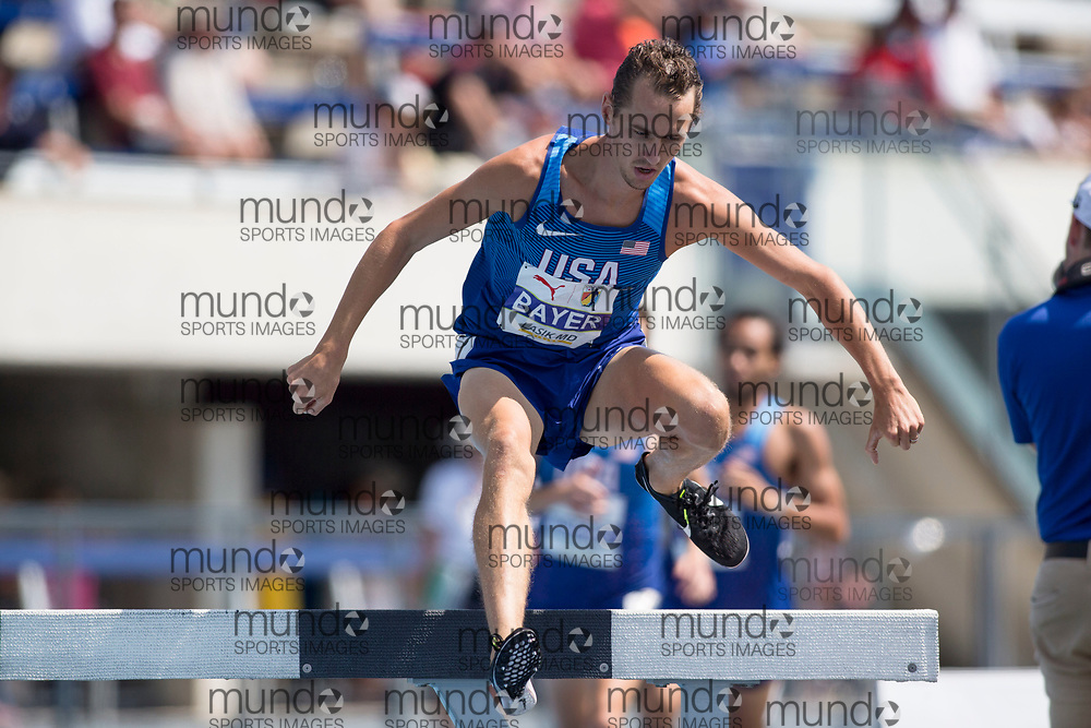 Toronto, ON -- 12 August 2018: Andy Bayer (USA), 3000m steeplecase at the 2018 North America, Central America, and Caribbean Athletics Association (NACAC) Track and Field Championships held at Varsity Stadium, Toronto, Canada. (Photo by Sean Burges / Mundo Sport Images).