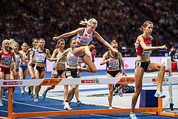 August 12, 2018 - Berlin, GERMANY - 180812 Karolin Bjerkeli Grøvdal of Norway competes in the women´s 3000 meter steeplechase final during the European Athletics Championships on August 12, 2018 in Berlin..Photo: Vegard Wivestad Grøtt / BILDBYRÃ…N / kod VG / 170206 (Credit Image: © Vegard Wivestad GrØTt/Bildbyran via ZUMA Press)