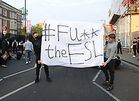 Football - 2020 / 2021 Premier League - Chelsea vs Brighton & Hove Albion - Stamford Bridge<br /> <br /> Chelsea fans protest outside the ground with a Police cordon <br /> <br /> Credit : COLORSPORT/ANDREW COWIE