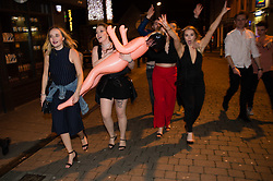 © London News Pictures. 31/12/2017. Aberystwyth, UK.  People out on the streets of Aberystwyth, enjoying  the 2018 New Year Celebrations . Photo credit: Keith Morris/LNP