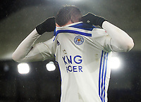 Football - 2018 / 2019 Premier League - Crystal Palace vs. Leicester City<br /> <br /> Jamie Vardy of Leicester pulls the shirt over his head, at Selhurst Park.<br /> <br /> COLORSPORT/ANDREW COWIE