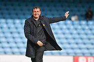 Gary Bowyer of Bradford City (Manager) at the full time whistle waving to the Bradford City fans during the EFL Sky Bet League 1 match between Scunthorpe United and Bradford City at Glanford Park, Scunthorpe, England on 27 April 2019.