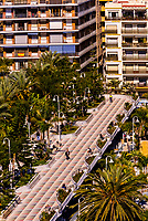 High angle view of a promenade in the beach resort of Almunecar, Costa Tropical, Granada Province, Andalusia, Spain.