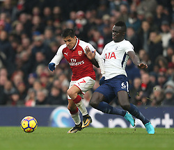 18 November 2017 London : Premier League Football : Arsenal v Tottenham Hotspur - Alexis Sanchez is fouled by Davinson Sanchez of Tottenham and the resulting free kick led to the first goal for Arsenal.<br /> (photo by Mark Leech)