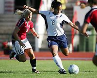 Fotball, 26. juli 2005, U21 damer, Åpent nordisk mesterskap, finale, Norge- USA 1-4,  Jill Oakes, USA og Lene Mykjåland, Norge