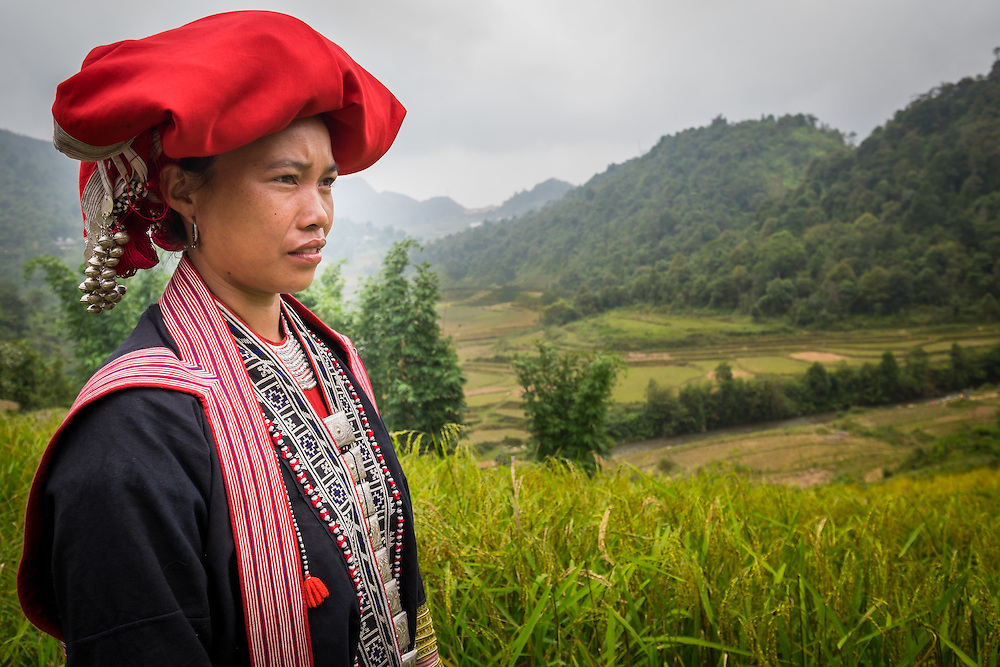 SAPA, VIETNAM - CIRCA SEPTEMBER 2014:  Young woman from the Red Dao minority on the rice fields in Ta Phin Village near Sapa, north Vietnam.