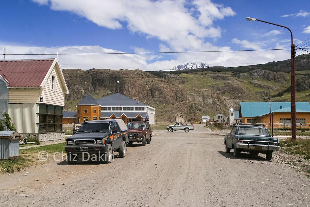 Lago del Desierto one of the main cross roads in El Chalten. It was just a gravel road with a few buildings in Jan 2004