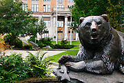 A bear statue in front of the Alaska State Capital building, Downtown Juneau, Alaska.