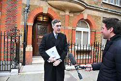 © Licensed to London News Pictures. 29/01/2019. London, UK. Brexiteers JACOB REES-MOGG is seen leaving his home in Westminster, London. MPs will today (Tues) vote on a series of amendments to the Prime Minister's plans that could shape the future direction of Brexit. . Photo credit: Ben Cawthra/LNP