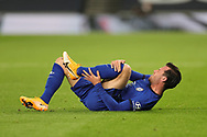 Chelsea defender Ben Chilwell (21) lay injured during the EFL Cup Fourth Round match between Tottenham Hotspur and Chelsea at Tottenham Hotspur Stadium, London, United Kingdom on 29 September 2020.