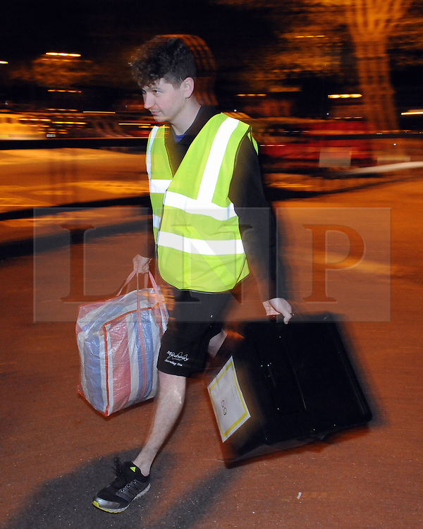 © Licensed to London News Pictures. 07/05/2015<br /> Ballot boxes arriving at Medway Park Centre,Gillingham.<br /> General Election 2015 Count for Medway, Kent at Medway Park Sports Centre,Gillingham.<br />  <br /> (Byline:Grant Falvey/LNP)