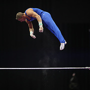 Steven Legendre, Norman, Oklahoma, in action on the Horizontal bar during the Senior Men Competition at The 2013 P&G Gymnastics Championships, USA Gymnastics' National Championships at the XL, Centre, Hartford, Connecticut, USA. 16th August 2013. Photo Tim Clayton